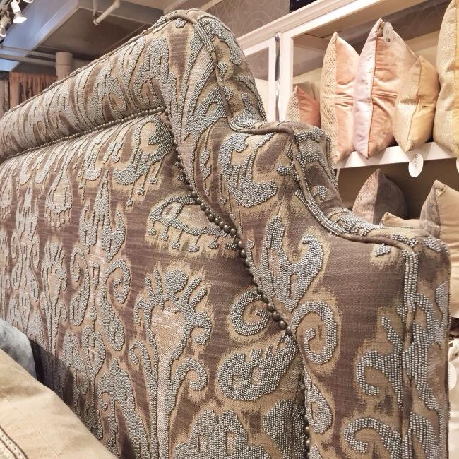 Detail, Upholstered and beaded headboard, Callisto Home via Cozy Stylish Chic