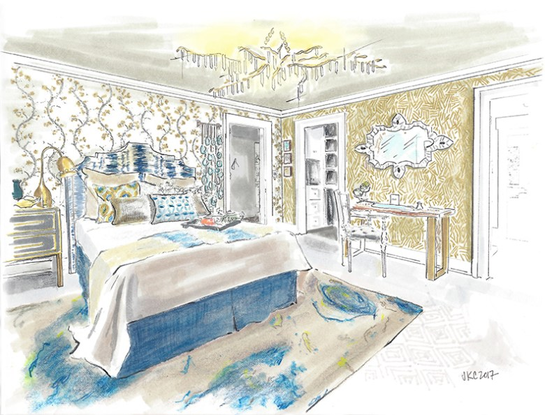Guest Bedroom rendering by Jeanne K Chung | Cozy Stylish Chic at the 2017 Pasadena Showcase House of Design