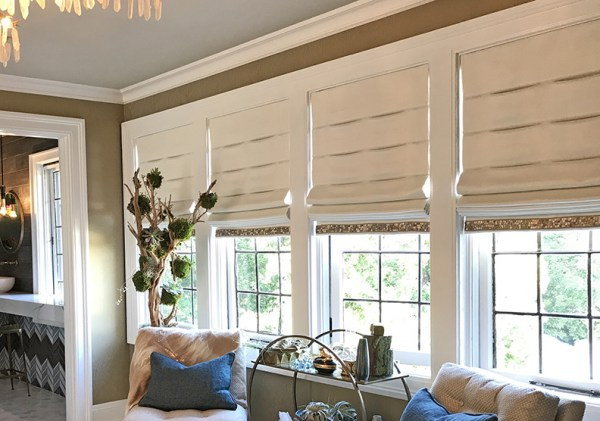 Guest bedroom for the 2017 Pasadena Showcase House-Cozy Stylish Chic - Cordless roman shade window treatments