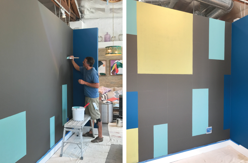 Creating an art wall using CENTURY paint by Benjamin Moore at Cozy Stylish Chic