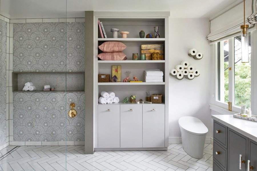 Pasadena CA bathroom with calacatta marble mosaic shower tile and herringbone tile - The Cozy Stylish Chic Teen Bathroom for the 2018 Pasadena Showcase House