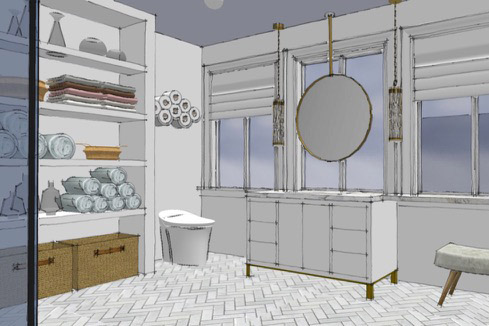Rendering of teen bath ideas for the 2018 Pasadena Showcase House