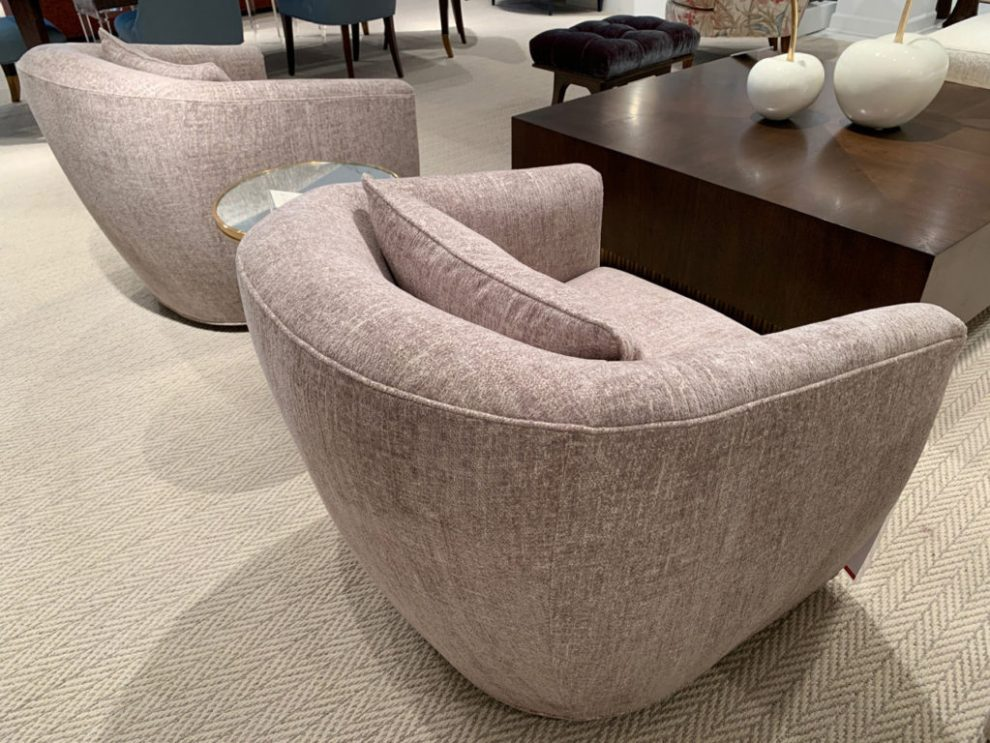 Pink Himalayan salt swivel chair Spring 2019 Design Trends - High Point Market