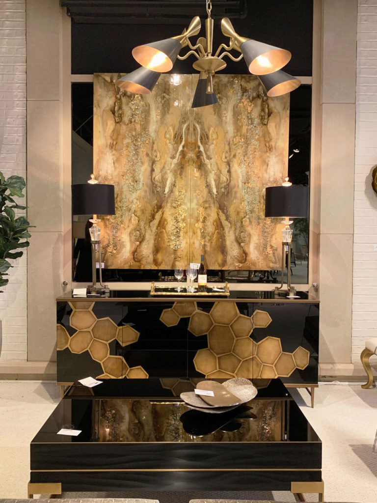 luxurious digitally printed cabinet with black coffee table Spring 2019 Design Trends - High Point Market