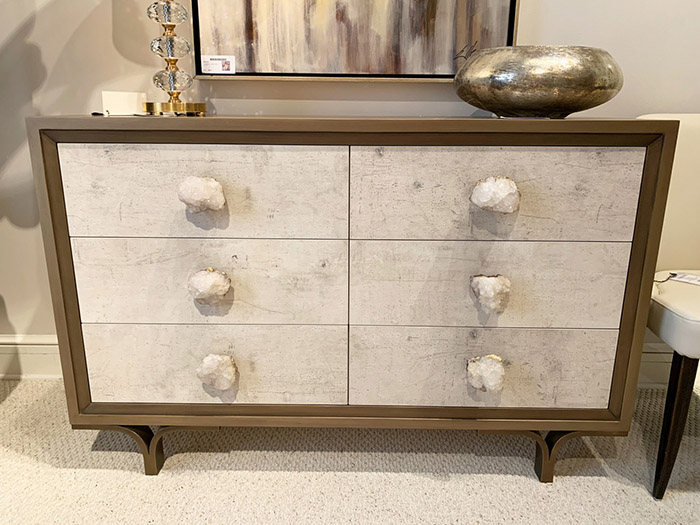 Transitional chest with rock crystal hardware Spring 2019 Design Trends - High Point Market