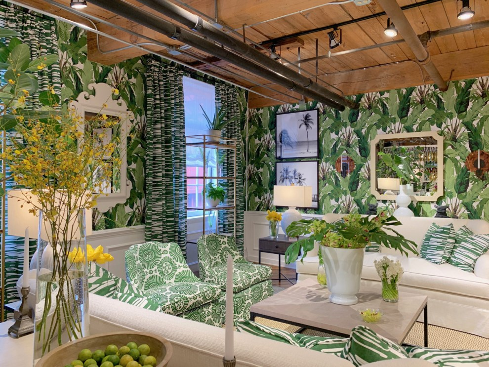 Traveler's Palm banana leaf wallpaper and Tropic vignette at Highpoint Market
