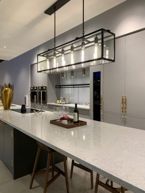 Modern grey kitchen with brass hardware - Signature Kitchen Suite, Napa CA
