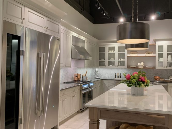 Transitional kitchen with marble island and stainless steel appiances - Signature Kitchen Suite, Napa CA