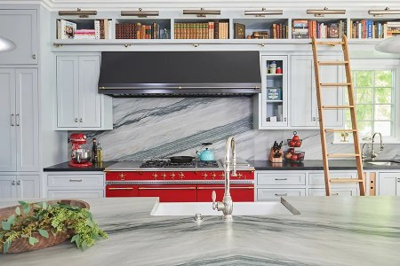 Luxury La Canada kitchen with red range