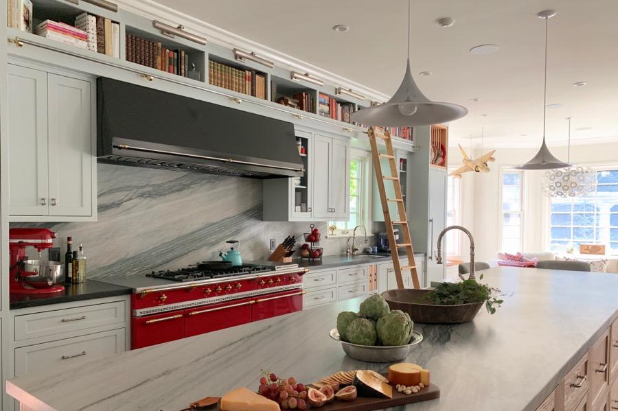 Custom La Canada kitchen with  red range