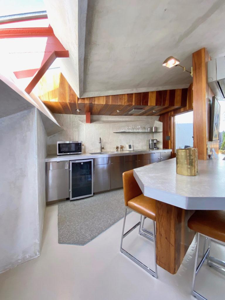 Remodeled modern concrete kitchen at the Lautner Compound, Palm Springs #kitchen #midcenturymodernkitchen #palmsprings #JohnLautner