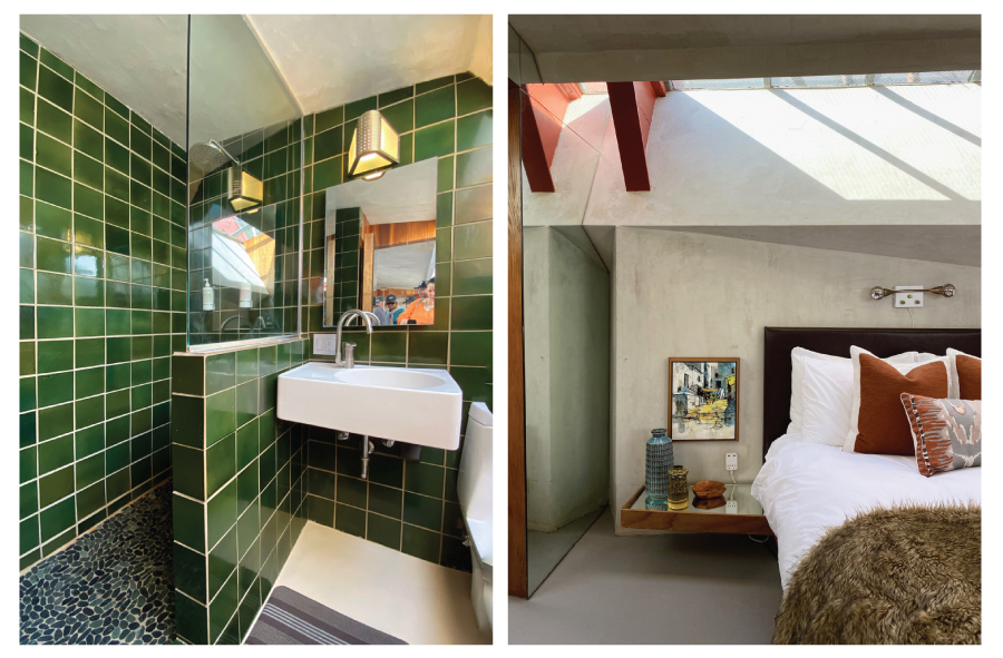 Heath Ceramics green tile bathroom and bedroom at the Lautner Compound