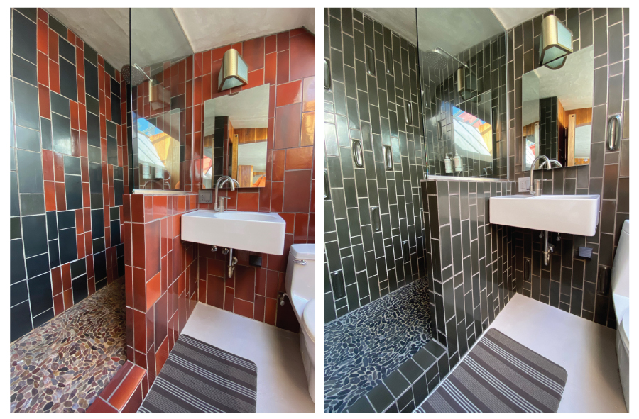 Heath Ceramic tile midcentury modern bathrooms at The Lautner Compound, Desert Hot Springs, CA #blacktile #blacktilebathroom #bathroom #midcenturymodernbathroom #tile