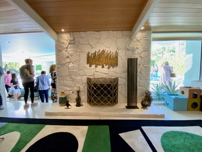 Mid century painted river rock fireplace, Palm Springs