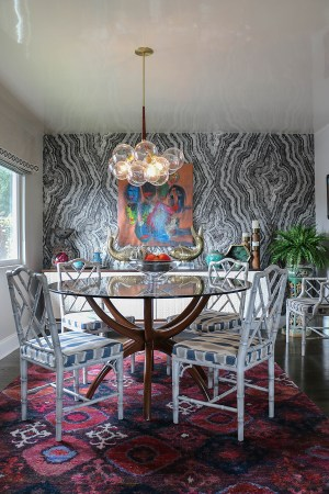 Eclectic Sierra Madre dining room with black and white wallpaper - inerior designer: Jeanne K Chung | Cozy Stylish Chic