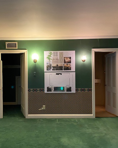 Green carpet and walls room