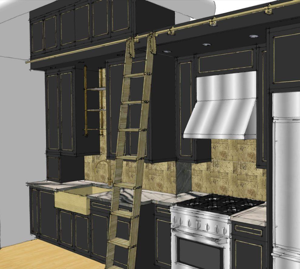 Black and Brass loft kitchen rendering