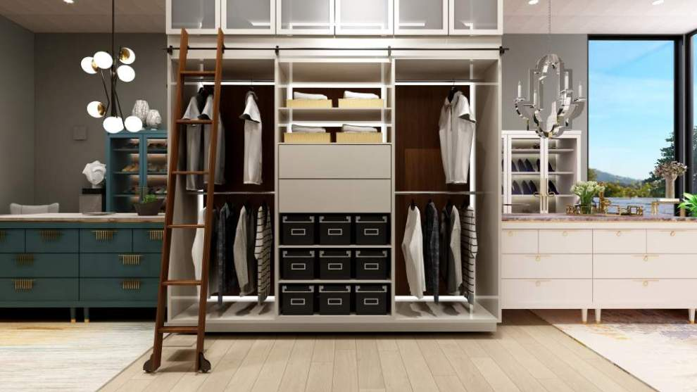 his and hers master closet with freestanding closet island