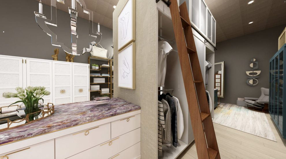 Hers walk-in closet designed by Pasadena interior designer Jeanne K Chung