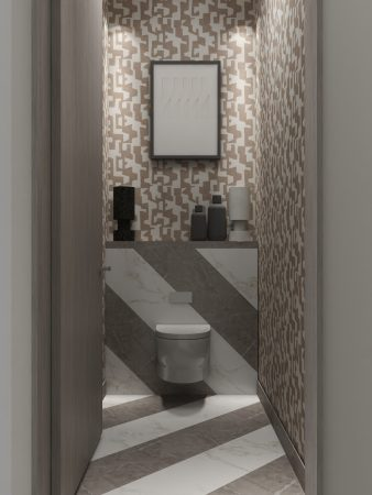 His luxury water closet designed by Pasadena interior designer Jeanne K Chung of Cozy Stylish Chic