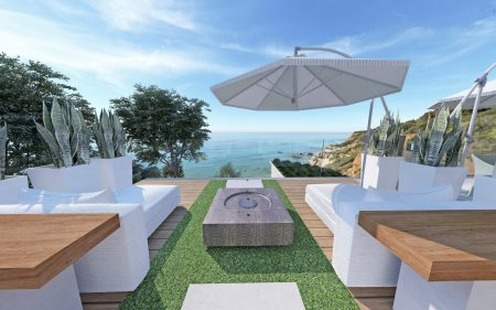 Oceanfront Outdoor Malibu Terrace designed by California interior designer Jeanne K Chung of Cozy Stylish Chic
