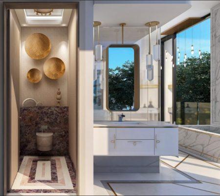 Hers luxury water closet, Malibu CA designed by Pasadena interior designer Jeanne K Chung of Cozy Stylish Chic