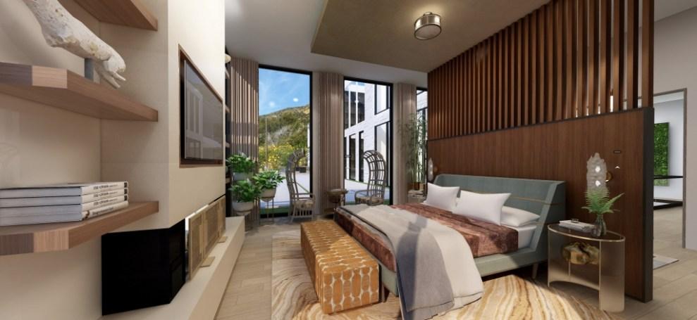 Modern Malibu master bedroom designed by Pasadena, CA interior designer Jeanne K Chung of Cozy Stylish c/hic