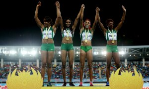 NASSAU, BAHAMAS - MAY 02: Blessing Okagbare, Regina George, Dominiue Duncan, and Christy Udoh of Nigeria celebrat on the podium after winning the final of the women?s of the 4 x 200 metres on day one of the IAAF World Relays at Thomas Robinson Stadium on May 2, 2015 in Nassau, Bahamas.  (Photo by Streeter Lecka/Getty Images for IAAF)