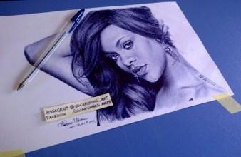 RIHANNA_ballpoint_pen_drawing_by Oscar Ukonu