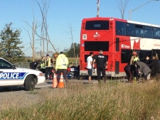 Ottawa transit bus hit by train