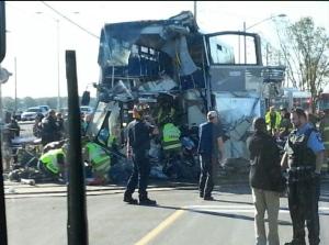 Ottawa transit bus hit by train