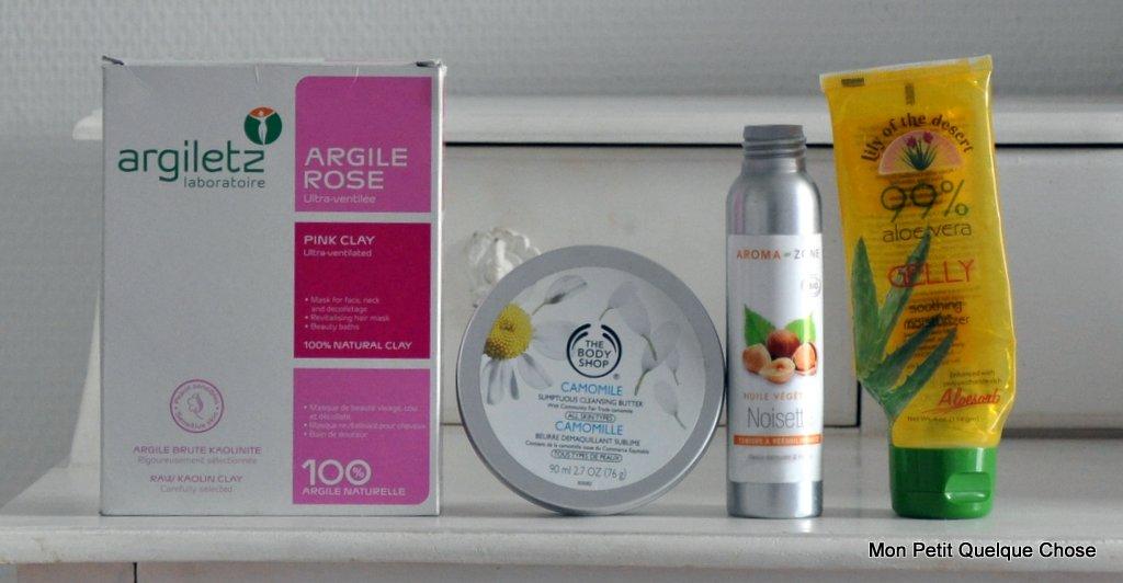 Argiletz Argile rose, Baume démaquillant à la camomille The Body Shop, Huile de noisette Aroma-Zone, Gel aloe vera Lilly of the Desert