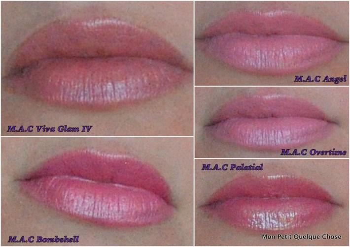 Swatchs Les rouges à lèvres MAC, Viva la Glam IV / Bombshell / Angel / Overtime / Palatial