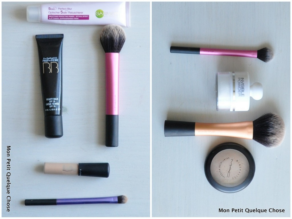 Makeup avec MAC : Base 5sec de Garnier / BB crème MAC / Mineralize Concealer MAC / Multitask Brush / Domed Shadow Brush / Invisible Powder de Kiko / Mineralize Skinfinish MAC / Setting Brush / Powder Brush