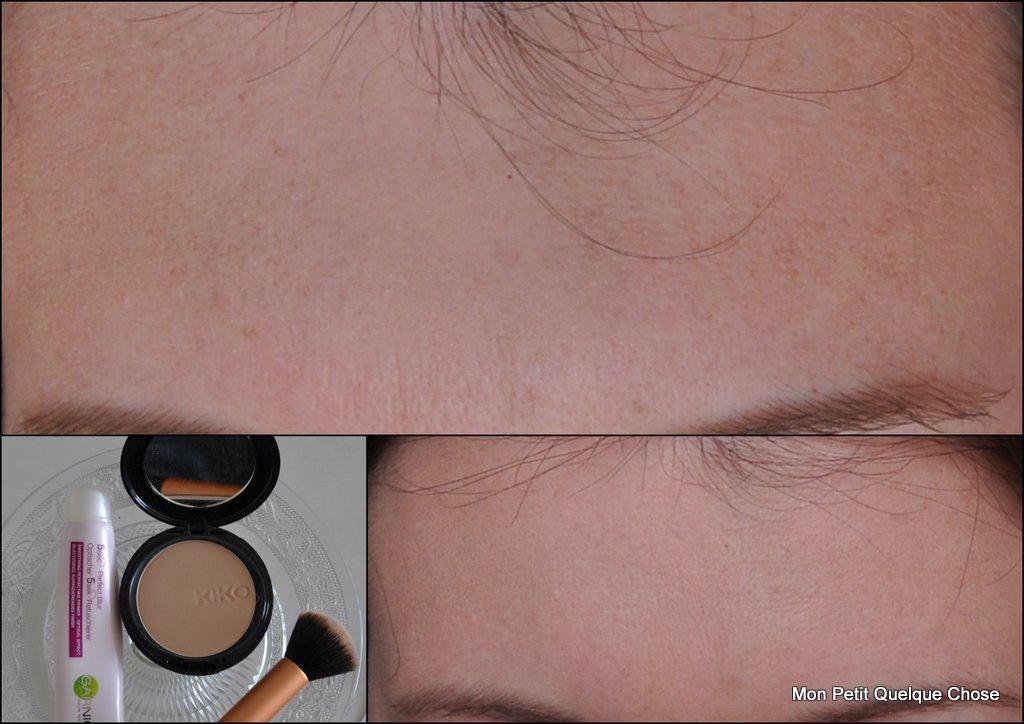 Base 5 secondes de Garnier, Soft focus compact, fond de teint minéral wet and dry de Kiko, Buffing Brush Real Techniques