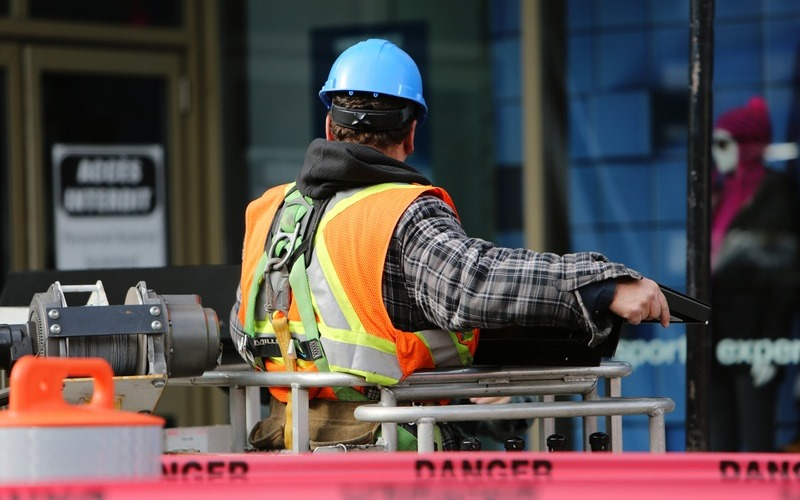 Construction worker in a dangerous enviornment