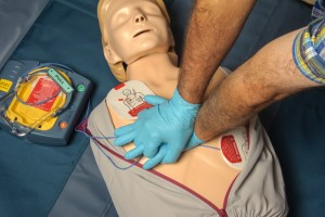 CPR given with AED attached