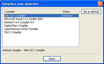 Compiler Auto-Detection Window