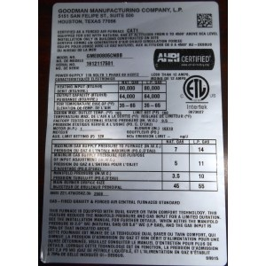 natural serial plate goodman recalls furnaces due to electrical shock  hazard goodman gas furnace reviews canada