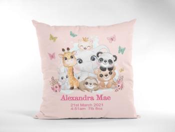 Baby Birth Cushion Cute Wild Animals Pink