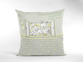 Baby Birth Blanket Cute Animals In Window Green