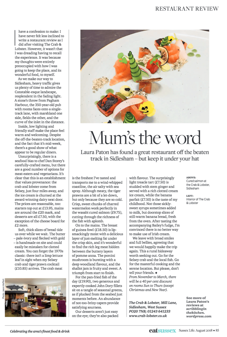 Crab & Lobster food review in sussex life magazine