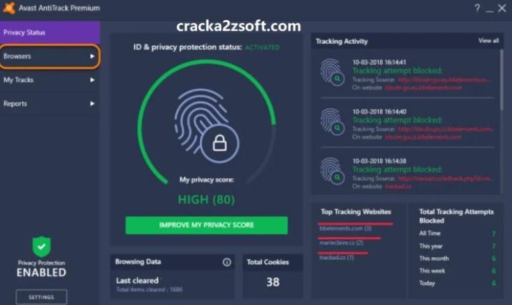 Avast AntiTrack Premium License key screen