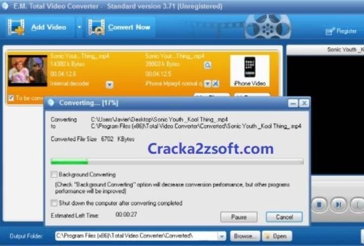 Total Video Converter Crack + Serial Key screenshot