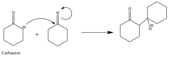 aldol condensation of cyclohexanone (attack)