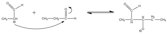 aldol condensation of propanal,  reaction mechanism