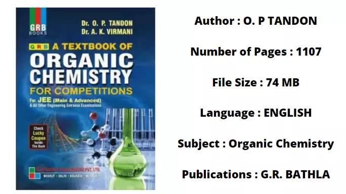 op tandon organic chemistry pdf download