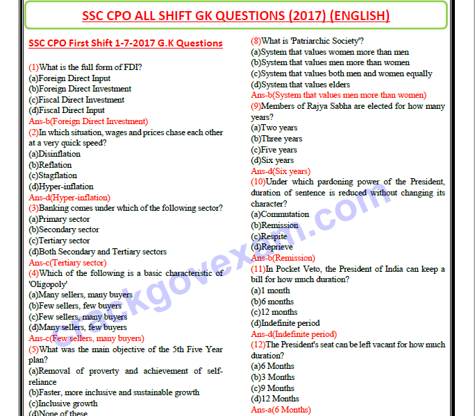 General Knowledge Quiz Questions And Answers In English ...