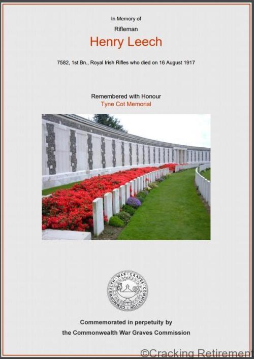 Cracking REtirement War Certificate Henry Leech