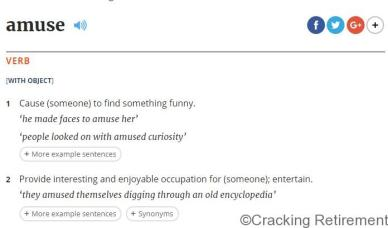 Cracking REtirement OED Definition of Amuse